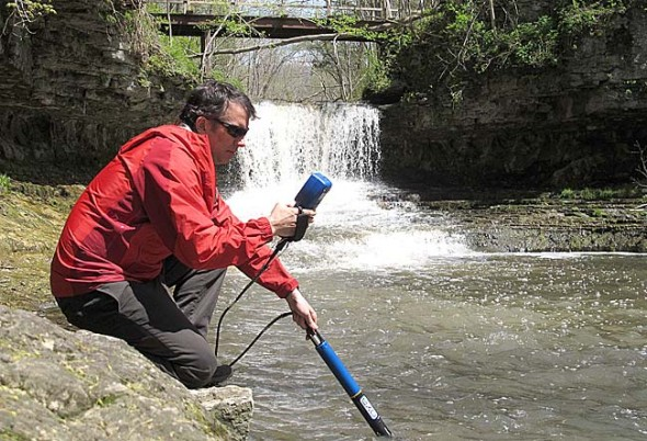 In its first year as a division of Xylem, YSI launched Exo, a new line of advanced water quality monitoring sonde systems. Here Rob Ellison, Director of Research and Development at YSI, tests an Exo sonde along Birch Creek in the Glen Helen Nature Preserve. YSI has continued double-digit growth since being acquired last year. (Submitted photo courtesy of Xylem)