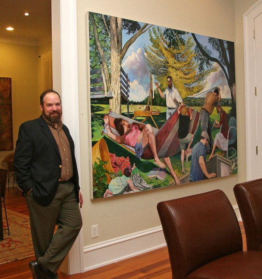 Jeremy Long with main oil painting at his reception last night at the Glen House Inn. (photos by Suzanne Ehalt)
