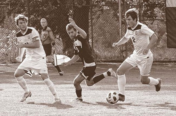 Kyle Buckwalder, a 2008 YSHS graduate and soccer stand-out, recently for the second year earned a place on the Capitol One Academic All America Team for his athletic and academic performance. He's shown pushing the ball for Colorado College, where he will graduate this year. (Submitted photo)