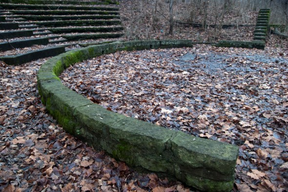 The amphitheater behind the John Bryan Center meshes naturally with the forest environment.