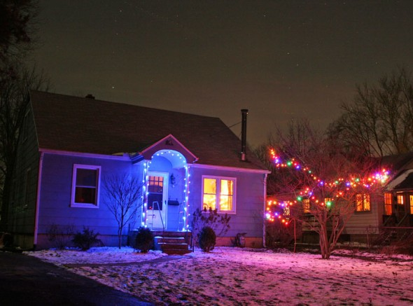 There was a beautiful clear sky the night I photographed this Pleasant Street home. (photos by Suzanne Ehalt Szempruch)