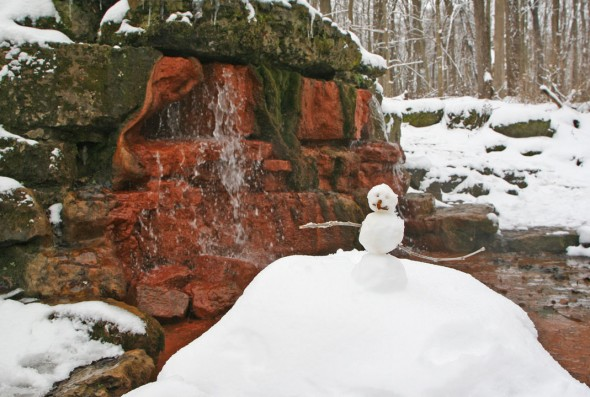 Someone passed by the Spring before we did and made a little snowman to make us smile- as if we weren't enjoying ourselves already on such a peaceful hike! (photos by Suzanne (Ehalt) Szempruch)