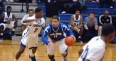 Senior forward Robbie Jones went one-on-one against his defender during the YSHS boys varsity basketball game last Friday night. Jones was solid at defense for the Bulldogs, but his team lost the matchup with visiting Cincinnati Clark Montessori. (Photo Megan Bachman)