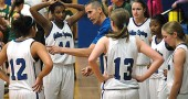 Coach Tim Barga instructed his YSHS girls varsity basketball team during a tense moment of last week's Troy Christian game. Behind in the fourth quarter, the team came through with a 34–27 victory, Barga's 500th career win as a coach. (Photo Megan Bachman)