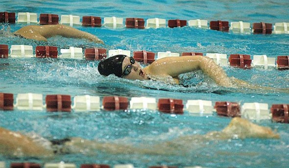 Zarine Giardullo swam her fastest time ever in the 200-yard freestyle at Friday's Shawnee Invite at Wittenberg University. Giardullo finished in 19th place with a time of 2:55.07. New personal records were set in 18 of 24 Bulldog swims. (Photo Megan Bachman)