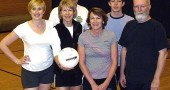 Auny Gravity won the local volley rec league B division. Team members pictured are Corrie Van Ausdal, Donna Silvert, Joe Reynolds, Cindy McBride, Galen Clark and Glen Clark.