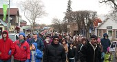 Villagers braved the cold to take part in the 2012 MLK Day march through town.