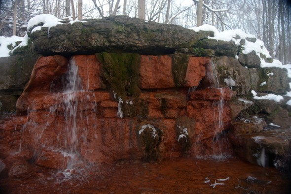 The Yellow Springs with a snowy backdrop (photo by Aaron Zaremsky)