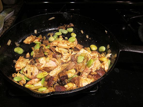 stir fry of curried chicken