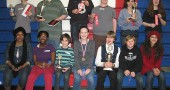 McKinney Middle School students took home an impressive array of awards at the annual Power of the Pen writing competition on Saturday, Feb. 2. Pictured from left to right in the back are: Duard Headley, Baer Wright, Jack Lewis, Windom Mesure, Lorien Chavez and Evening Hudson. Pictured in the front row from left to right are: Ms. Aurelia Blake, Evalynn Orme, Aidan Hackett, Greta Kremer, Peter Day, Cameron Knopp and Solene Roullier. (Submitted photo)