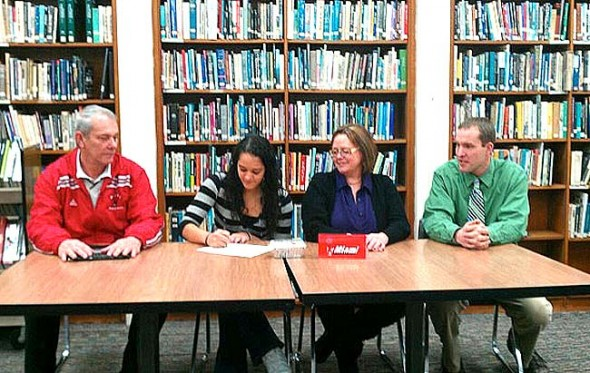 YSHS student Maryah Martin recently sat down in the school library and signed to play college basketball for Miami University-Middletown. (Submitted photo)