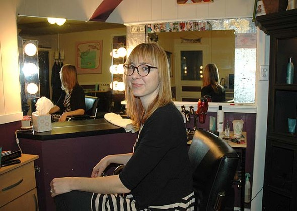 Andrea Rhodes recently opened the Sidedoor Salon, a new hair styling business located around the side of 108 Dayton St. Rhodes brings to her business 12 years of experience, including several years at Wavelength, along with a background of Reiki. For an appointment, contact her at 937-474-5169. (Photo by Diane Chiddister)