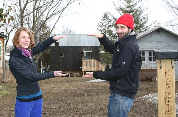 Allison Paul and Alex Melamed live in what is perhaps the village's smallest home, a 320-square-foot structure that they designed and built on the back of their Walnut Street lot. The house was approved as an accessory building to the larger home they plan to build in the front of the lot. (photo by Suzanne Szempruch)