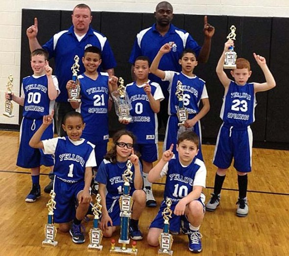 The third- and fourth-grade Bulldogs select teams both ended their seasons as Dayton Metro League tournament champions. This is the first year that Yellow Springs fielded three select teams, according to organizer Brad Newsome, and two out of the three went on to win their seasons and the tournament. Shown are, above in front from left, 4th-graders Robe Mendives, Roman Newsome, DeAndre Cowen, Dimitri Wallace and Vaughn Hendrickson. In back from left, Ty Thompson, AJ Newsome, Quentin Cole, Coach Matt Wallace and Aamil Wagner. In the photo below are third-graders, front row from left, Travis Nelson, Eli Eyrich and Cory Cordell; middle row, Ayden Rose, Marcus Mendives, Gabe Goings, Shawn Thigpen Jr. and Blake Dichler; and in back, Coaches Chuck Rose and Shawn Thigpen Sr. (Submitted photos)