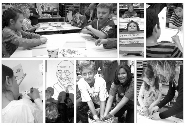 For the past eight weeks, Mills Lawn students have been involved in a whole-school project that promotes building a culture of peace. The culmination of Project Peace, a multimedia triptych featuring portraits of historic peacemakers, will be honored at a reception from 2–4 p.m. on Sunday, March 24, at Antioch University Midwest. Shown above are, from top left clockwise, second graders Karmyni Van Pelt and Joshua Clark; kindergartner Sam Trelawny-Cassity holding a peace message; Kaden Bryan drawing his self-portrait; artist-in-residence Deb Housh working with Olive Cooper; sixth-graders Teymour Fultz and Hailey Qualls immersing themselves in indigo dye; fourth graders admiring a portrait of Gandhi; and a student writing her peace message. (photos by Allison Paul)