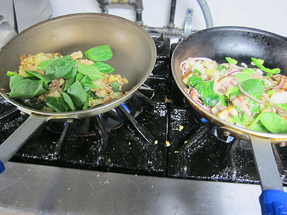 eggs and potato with spinach