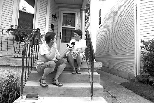 Local filmmakers Julia Reichert and Steve Bognar were recently awarded a MacArthur grant for Reinvention Stories, a multimedia project with WYSO radio. Reichert is shown above interviewing a Dayton resident last summer.