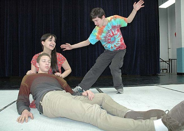 "Yellow Springs High School/McKinney School will present its spring musical, ""Once on this Island,"" on April 12–14, and 19–21 at the Mills Lawn gym. Shown above are, from left in back, Anna Knippling and Joshua Seitz, and in front, Ben Green. (Photo by Anisa Kline)"