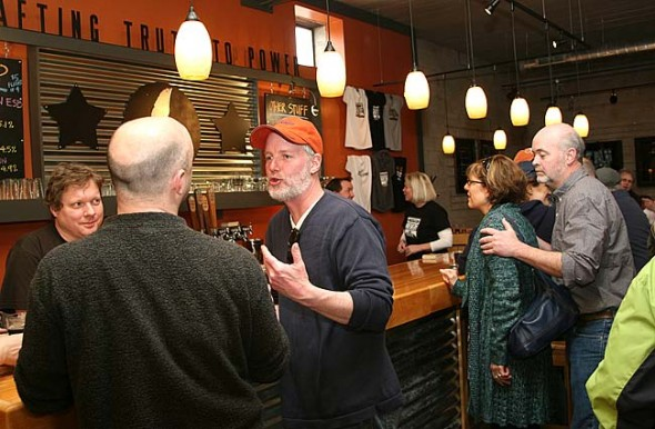 A steady stream of villagers  kept the new Yellow Springs Brewery humming all day during its sneak preview brewery tour last Saturday. (Photo by Suzanne Szempruch)