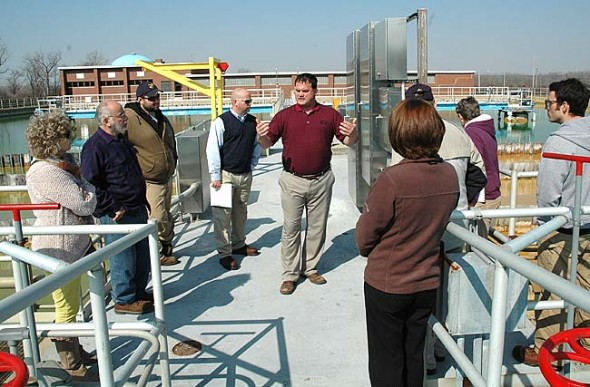 Springfield Water Treatment Plant Superintendent Allen Jones explained the treatment process that yields high quality, softened water at the plant on a recent tour by Yellow Springs residents, local elected officials and Village water treatment plant staff. Village Council plans to decide by the end of May whether to purchase water from Springfield or upgrade its own facilities. Photo by Megan Bachman