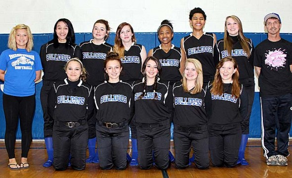 The YSHS softball team, back for a second year after a four-year absence, begins its season with eight returning players and high hopes. Team members are, from left, front row, Evelyn Greene, Cali Dillon, Modjeska Chavez, Sarah Jako, Hannah Brown; back row, Coach Shannon DeLong, Sierra Lawrence, Maddie Gueth, Chelsea Horton, Brianna Ayers, Mar'ria Miley, Jesi Worsham, Coach Jim DeLong. Submitted photo