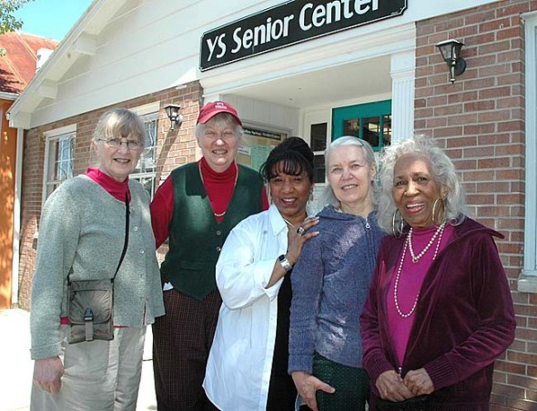 The Yellow Springs Senior Center is regrouping, reevaluating its budget and preparing for new leadership to take on the recent growth the center has experienced in recent years. Pictured, from left, are YSSC board member Suzanne Patterson, who will soon be the YSSC interim coordinator, volunteer Janeal Ravndal, board member Jalyn Jones Roe, assistant director Corinne Pelzl and member Maxine Jones.  Photo by Lauren Heaton