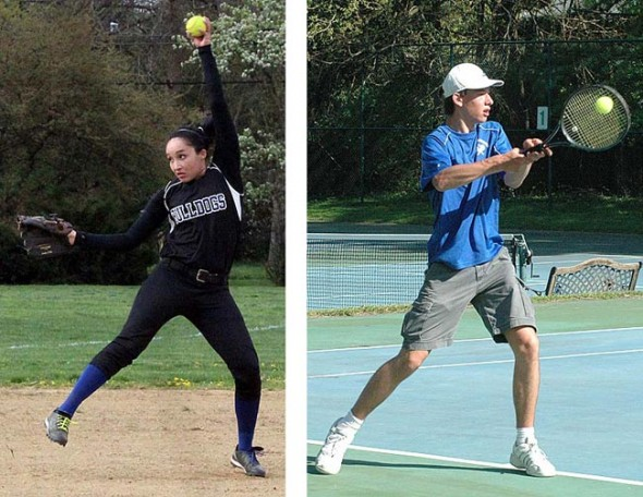 Last week lefty pitcher Sierra Lawrence, who is second in the league in strikeouts, pitched a complete game three hitter with five strikeouts to secure the YSHS softball team's first win in five years. Here Lawrence pitched in a loss against Emmanuel Christian last month. YSHS co-ed tennis team third singles player Gabriel Day returned a backhand during the team's 3–2 loss to Fairborn last week. (Photo, left, submitted by Jimmy DeLong; right, by Megan Bachman)