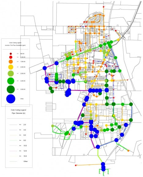 Village water flow after the Xenia Avenue connector and the Livermore-Corry Street connector have been added.
