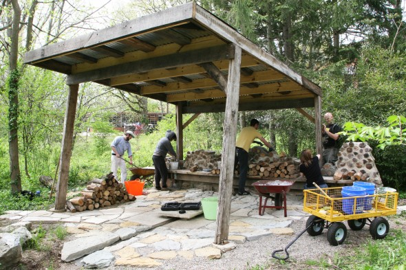 It was a perfect weekend to work on the Tea Pavilion at the Antioch College farm. From left to right is.... (photos by Suzanne Szempruch)