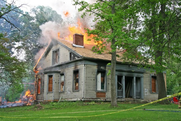 The Barr house, located at 321 Xenia Ave, was burned by the Miami Township Fire-Rescue team on Sunday, May 19 in a day long training. (photos by Suzanne Szempruch)