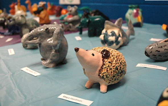 Pre-Columbian ceramic effigies were among the art pieces in the K–12 show.