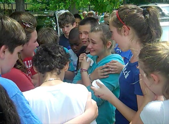 The Mills Lawn School sixth grade clap-out can be an emotional experience for those moving on. (Photo by Matt Minde)