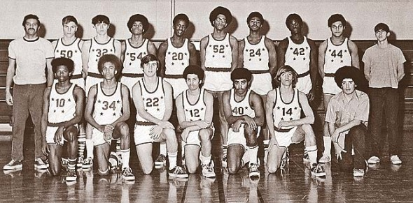 Charlie Coles, left, with Yellow Springs High School team in the early 70s. (Submitted photo)