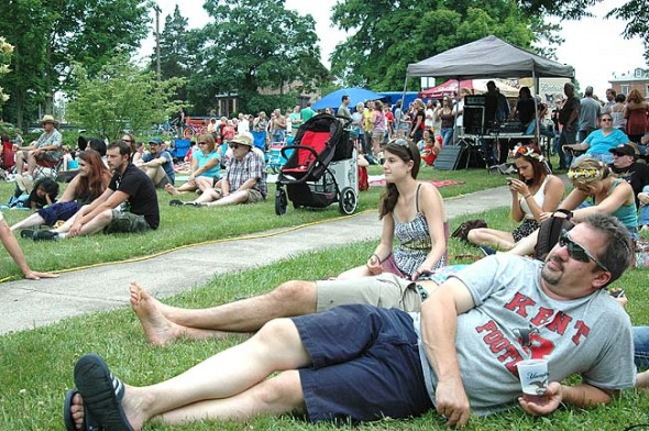 The beer garden at the Bryan Center was crowded all day at last Saturday's Street Fair, one indication that this year's fair was the biggest ever, according to Chamber of Commerce Executive Director Karen Wintrow. (Photo by Diane Chiddister)