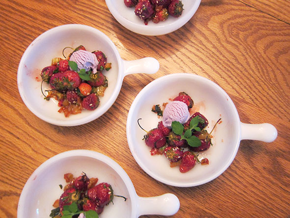 roasted strawberry and rhubarb served with ice cream