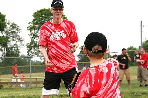 Jimmy Chesire, known to t-ball parents and kids as Coach Jimmy, is shown at a recent Friday evening t-ball event. Chesire is in critical but stable condition at the Kettering Medical Center following brain surgery last Sunday night.