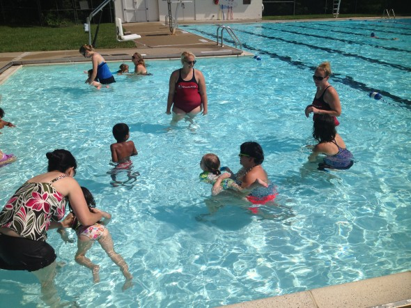 A small gaggle of kids of all ages will gather at Gaunt Park Pool for the next two weeks for swim lessons. I was on hand with my daughter, Lucy, for the level one beginner class. (Photo by Anthony Fife)