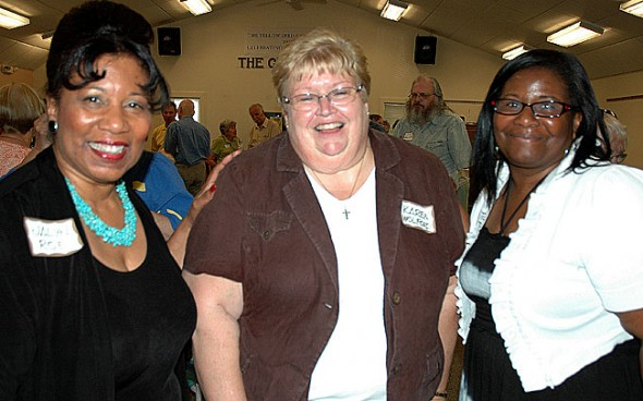 Senior Center board members Jalyn Roe, left, and Velda Martin, right, joined new YSSC Director Karen Wolford at the annual meeting last week.