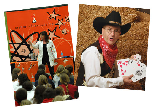 Michelle White of Crystal Clear Science and cowboy magician Mark Wood will be at the Yellow Springs Library this week.