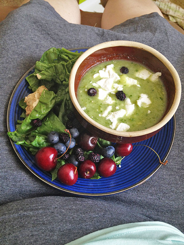 lunch with cucumber soup, berries, and spinach