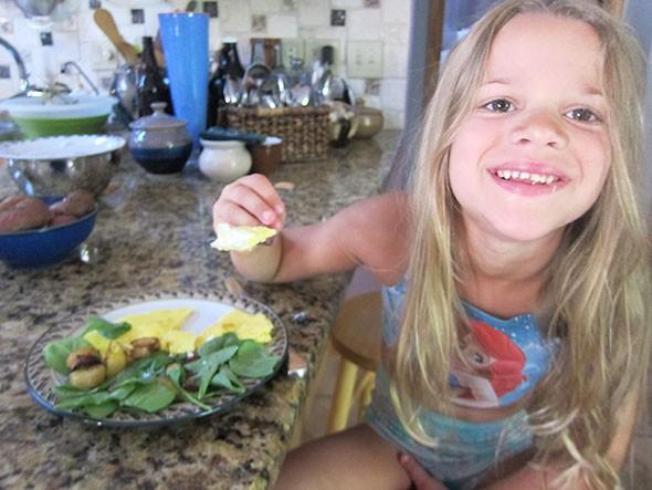 her breakfast plate