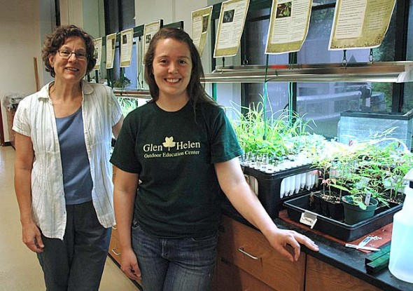 Antioch College environmental science professor Linda Fuselier, left, and Glen Helen extension naturalist Jennifer Lang will use a grant from the National Center for Science and Civic Engagement to launch an education and action program this fall to replace the Glen's invasive honeysuckle with native understory species. (Photo by Lauren Heaton)