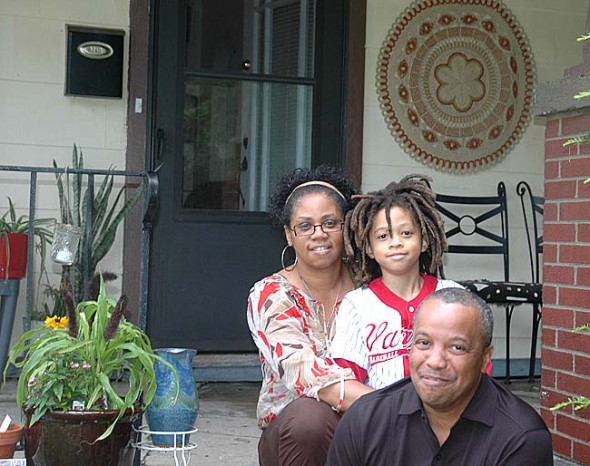 Toylyn and Basim Blunt recently moved to town from Dayton after Basim was hired by WYSO Public Radio to work on the Reinvention Stories project. Their son, Malcolm, will start third grade at Mills Lawn this fall. (Photo by Anisa Kline)