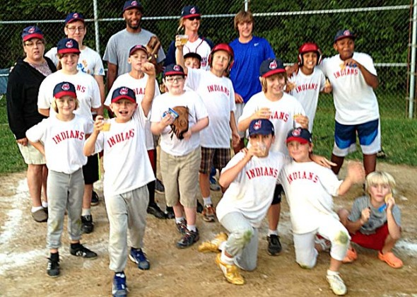 The Minor League's Indians finished this rainy baseball season undefeated. The team held off the Pirates last Sunday evening to become the league champions. (Submitted photo)