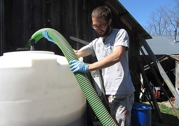 During Antioch College students' most recent co-op jobs, Gabe Amrhein of Yellow Springs worked for the Rich Earth Institute in Brattleboro, Vermont, testing the use of urine in agricultural applications.  (Submitted photo)
