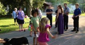 Hopscotch and conversation at the Stafford and Union streets block party on Saturday, Aug. 17.