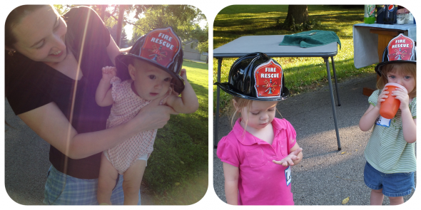 Pearl Bachman (with mom, Megan), Lucy Shows-Fife and Rudy Mae Wyant all give serious consideration to their futures as fire fighters.