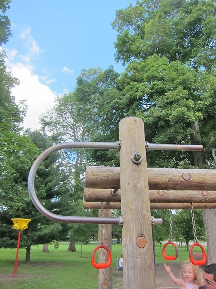 the big logs of the swinging rings