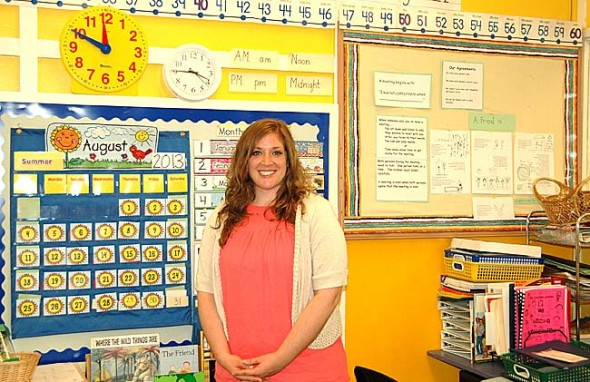 New Antioch School YG (Younger Group) teacher Christine Lipari-Althaus in her classroom.