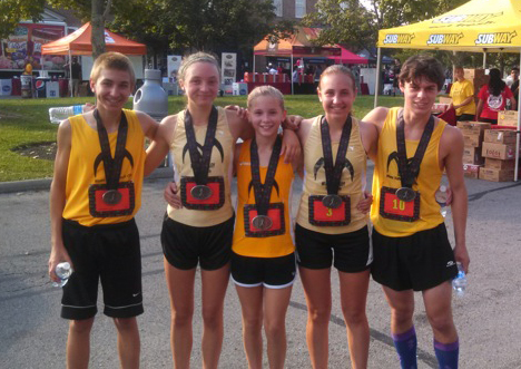 From left, Michael Belovich, Charlotte Walkey, Taylor Ewert, Emily Belovich and Cameron Haught all competed in the ninth annual New Albany Walking Classic with 3,000 other participants on Sept. 8. All five placed in the top 12 overall. (Submitted photo by Vince Peters)